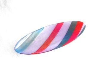 Striped Iridescent Oval Platter- Unique Fused Glass Design