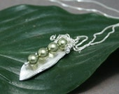 RESERVED LISTING: Sweet Pea Pod - Fine Silver and 4 Swavorski Pearls Necklace