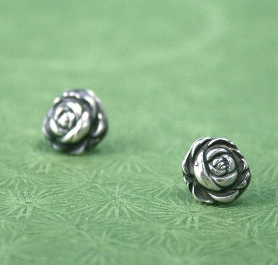 English Rose - Fine Silver Studs - Post Earrings