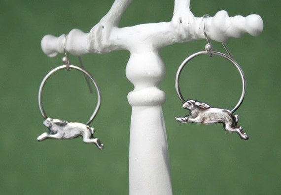 Run Rabbit Run - Fine Silver Hoop Dangles