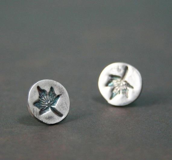 Itty Bitty Maple Leaf Studs - Fine Silver Post Earrings