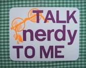 talk nerdy to me letterpress printed postcard