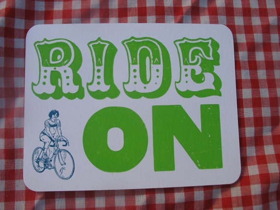 ride on letterpress printed postcard