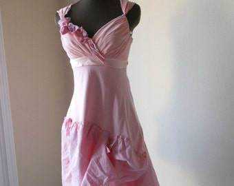Pixie Wedding Dress, Tattered Bohemian Pale Rose Pink Alternative Wedding, Unconventional Bride