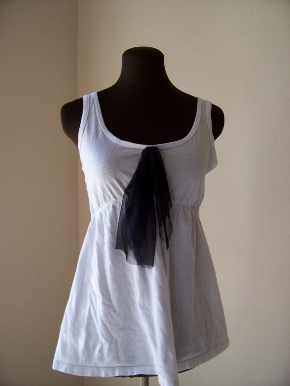 Bohemian Camisole Tattered Moonlight Noir Jersey French Paris Inspired Office Fashion Tie Travel Friendly Simple Upcycled