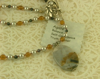 Agate and Swarovski Pearls Necklace-N1