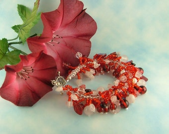 Red and Pink Caterpiller Bracelet