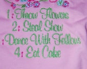Flower Girl Tshirt T-Shirt Tshirt Embroidered toddler 4T premade ready to ship