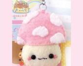 SALE:Pink Mushroom plush keychain