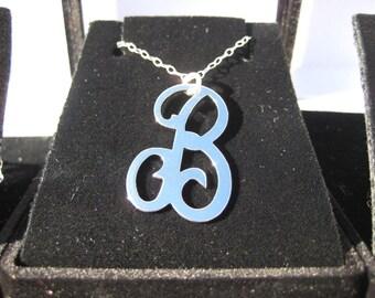 Inital Necklace Silver  - Swiryl Initial Necklace, Cursive Initial Necklace A B  C D E F G H I J K L M N O P Q R S T U V & W  Alter Designs