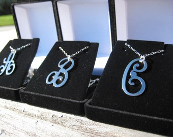 Swirly Cursive Font -  Initial Necklace - Large Initial Necklace - Script Initial, Silver Initial Necklace, Bridesmaid Gift, Letter Necklace