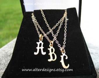 Initial Necklace Tiny Gold Script - Personalized Initial Letter Pendant Necklace by Alterdesigns -  Teensy Classic Letter Initial Necklace