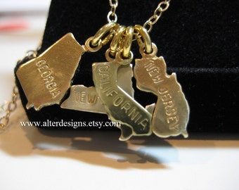 State Necklaces, State Charms - California State Charm Necklace New Jersey State Charm New York,Georgia State  Necklace ALL States Available