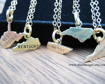 State Necklaces - Tennessee Necklace, North Carolina Necklace, VIrginia Necklace, Kentucky Necklace, West Virginia Necklace, North Carolina