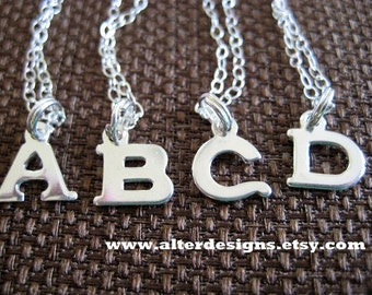 Sterling Silver Initial Necklace  - Silver Initial Necklace -Silver Initial Charm - Letter Charm Necklace -  Small Initial Necklace