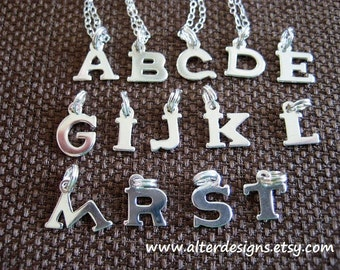 Initial Necklace, Silver Initial Necklace, Letter Charm, Tiny Sterling Silver Initial Necklace, Little Girl Necklace, Sister Necklace, BFF