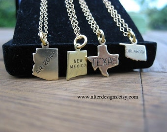 Oklahoma Necklace, Arizona State Necklace, Texas Necklace, New Mexico Necklace, Oklahoma State Necklace GOLD or SILVER, Long Distance Love