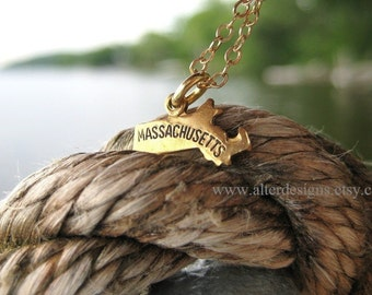 Massachusetts Necklace, State Necklaces, Graduation Gift, All States, Redsox Necklace, BFF Necklace, Going Away Gift, Patriots Necklace