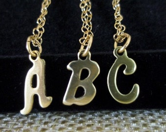 Tiny Initial Necklace Gold Letter Charm Small Pendant Necklace Alphabet Tiny Little Charm