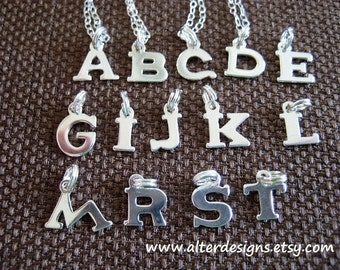 Silver Initial Necklace - Bridesmaid Gift, Flower Girl Gift, Tiny Initial Necklace - Best Friends - Bff Gift  Tiny Sterling Silver Initial