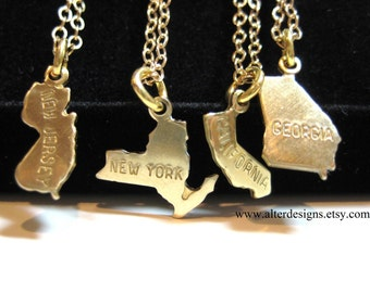 State Necklaces - Back To School  -  Moving Gift - Personalized Necklace - Home State Necklace - College Personalized Graduation Gift
