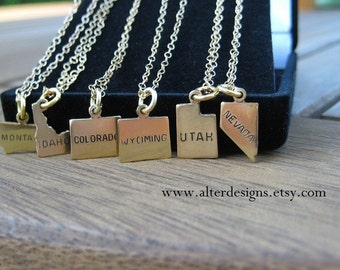 State Necklace Montana Necklace, Idaho Necklace, Colorado Necklace, Utah Necklace, Wyoming Necklace, Nevada Necklace Silver or Gold