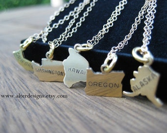 California State Necklace, Washington State Necklace, Hawaii State Necklace,Alaska State Necklace,Oregon State Necklace