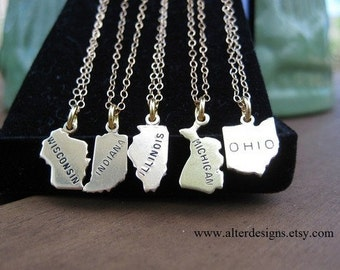 State Necklace All States Available Michigan Necklace, Ohio Necklace,Illinois Necklace, Wisconsin Necklace, Indiana Necklace Gold or Silver