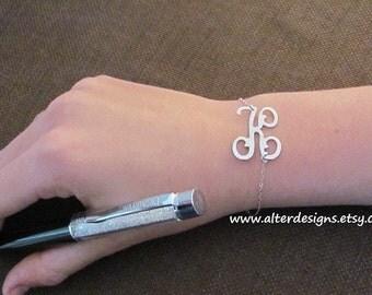 Sideways Initial  Bracelet - Initial Jewelry Silver or Gold Personalized Bracelet - Charm Bracelet - Best Friend Gift Celebrity Jewelry