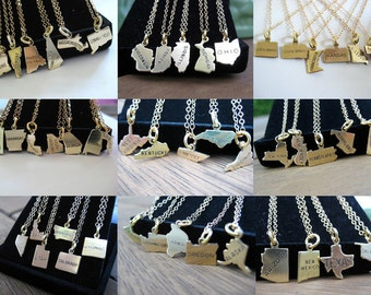 State Charm Necklaces - Graduation Gift - Going Away Gift - College Gift -  All States Available New York to California SIlver or Gold