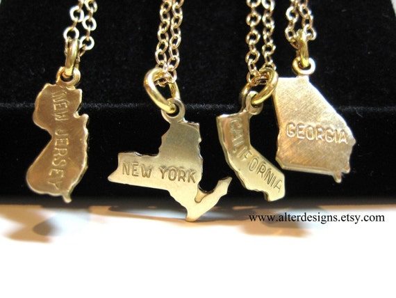 Tiny State Necklace -  Silver or Gold Small State Necklace California, New Jersey New York Georgia State  All States Bridemaid Gift