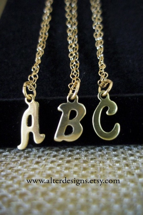 items similar to tiny initial necklace gold letter charm