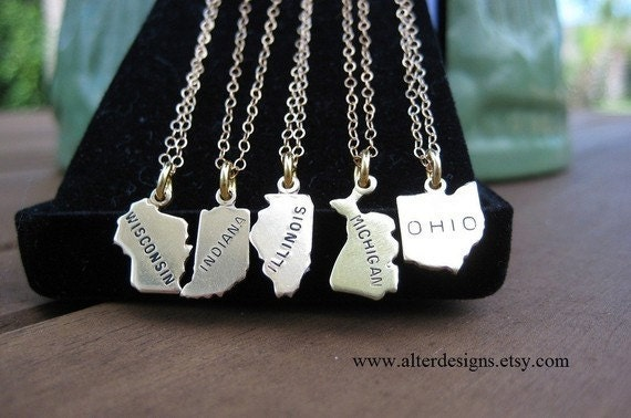 Two State Necklace Long Distance Best Friends Going Away Gift 2 State Necklace Bridesmaid Necklace Friendship Necklace
