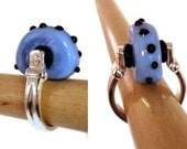 Lampwork Ring Handmade Bead Periwinkle with Black Polkadots Mohawk Ring