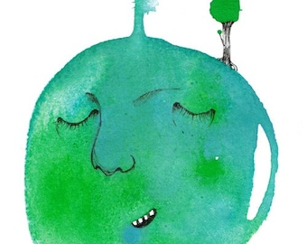 Peace on Earth - 4x6 art print of our relaxed, sleeping planet in all its grass green and turquoise blue glory