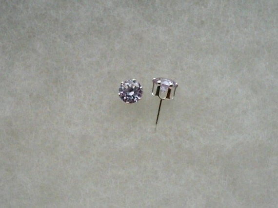 6mm Lavender Cubic Zirconias in 925 Sterling Silver 6 Prong Stud Earrings   SnapsByAnthony