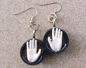 Upcycled Bottle Cap Barbie Doll hand earrings - MIME