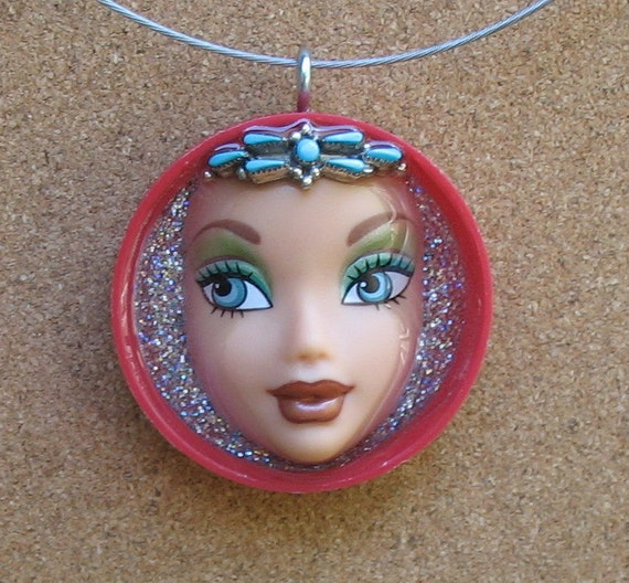 Upcycled Doll Face Pendant - Salt of the Earth