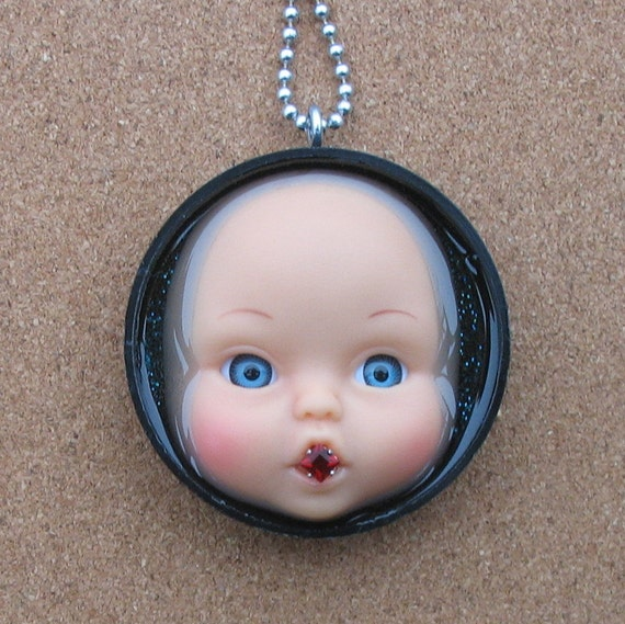 Upcycled Baby Doll Face Pendant - Age of Innocence