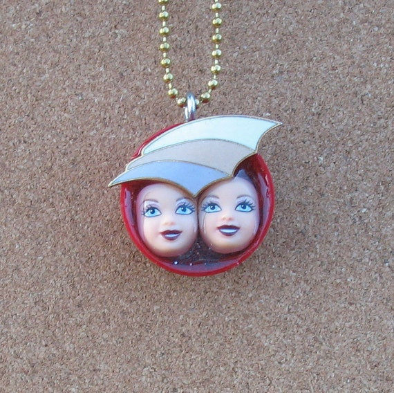 Upcycled Plastic Bottle Cap and Doll Pendant - We Two