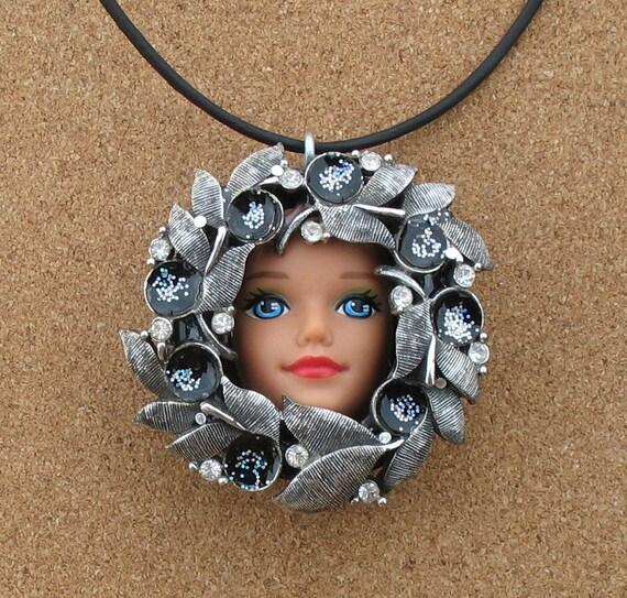 Repurposed Vintage Brooch Barbie Doll Pendant
