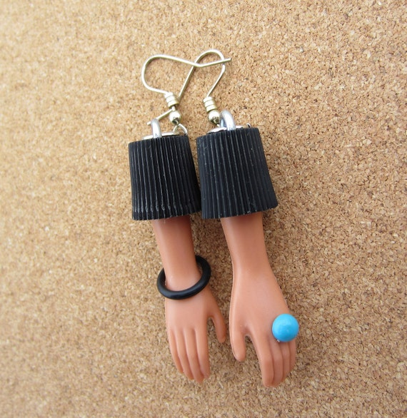 Upcycled Doll Hand Earrings - Blue Ring