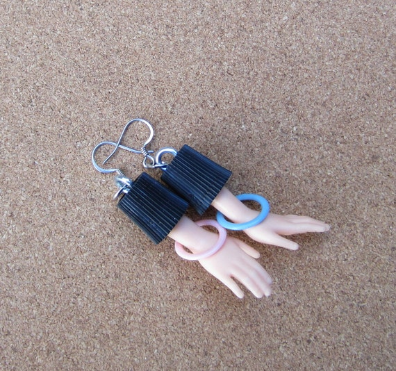 Upcycled Barbie Doll Hand Earrings - New Mom