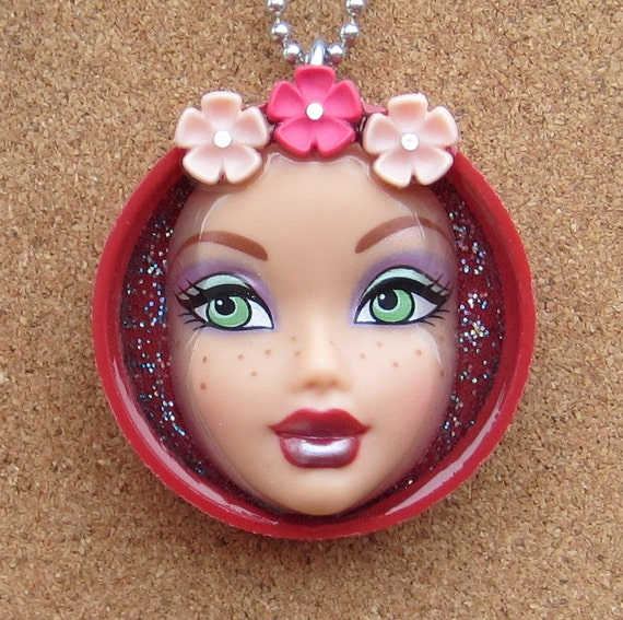 Upcycled Doll Face Pendant - Flower Child