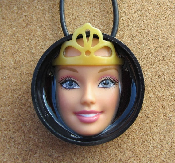 Queen of Plastic - Upcycled Barbie Doll Bottle Cap Pendant