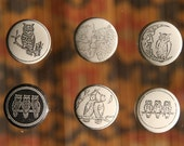 Pinback buttons of Owls