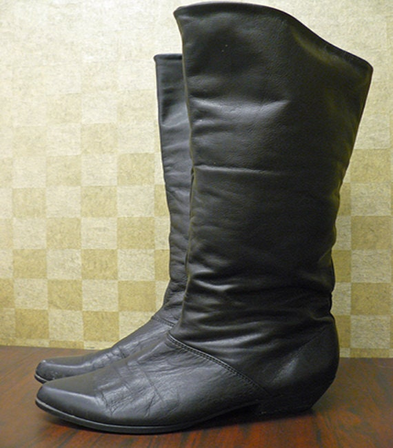 Vintage 1980s Tall Skinny Black Leather Equestrian Boots Size 8