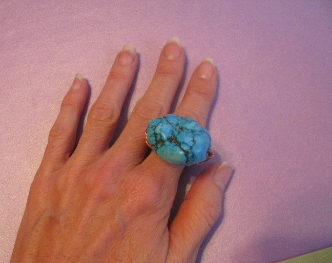 Copper Ring * Turquoise Ring * Wire Wrapped * Size 8 and a half Ring *