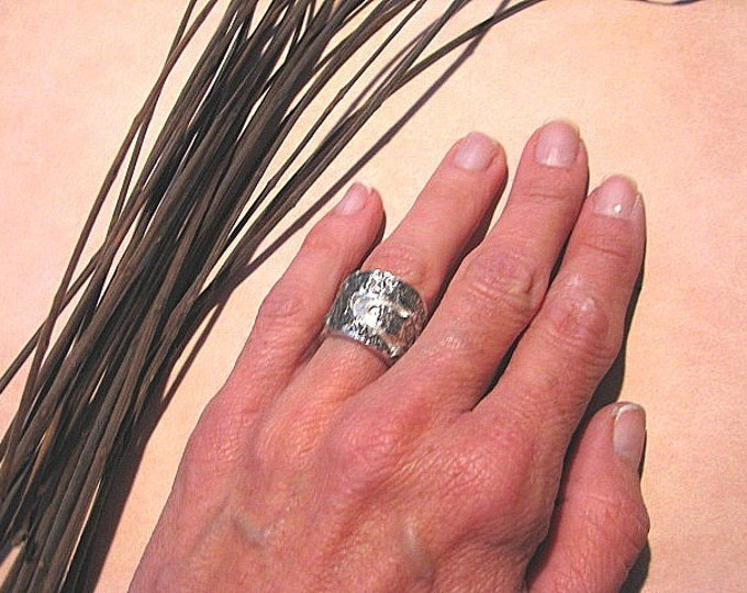 PMC Silver Ring * Yoga Jewelry* Yoga Ring* Band-on-Band & Yoga Posture Ring * Size 5