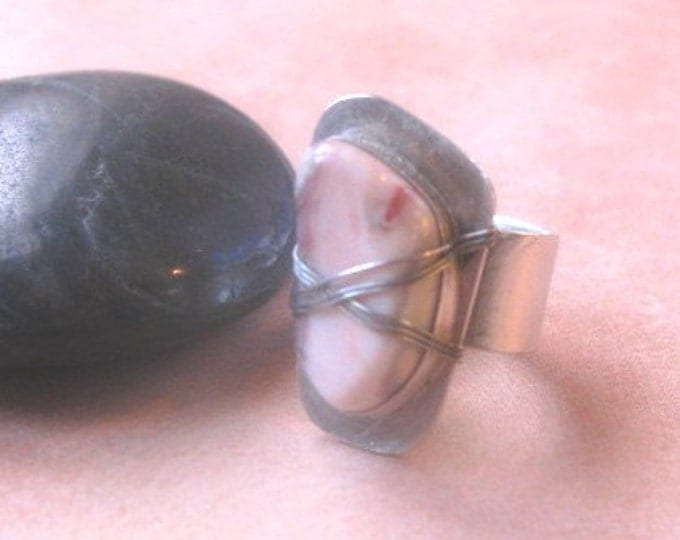 Sterling Silver Ring * Wire Wrapped Rose Quartz Ring